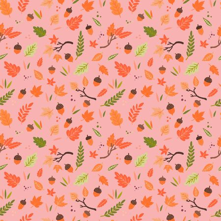 Cute and cozy seamless pattern with multicolored leaves and oak fruits on tender coral background. Leaf and acorn fall for backdrop, background, textile, fabric. Repeated autumn season objects. Vector