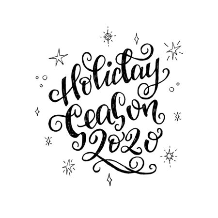 Holiday Season 2020 flourish handwriting with sketched stars and snowflakes. Flower lettering phrase about upcoming New Year and winter vacation. Ornate handwritten text with decorative strokes. Vector Иллюстрация