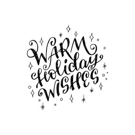Warm Holiday Wishes ornate lettering phrase with sketchy stars and snowflakes. Flourish handwritten inscription for greeting card, invitation, banner, cover. Hand drawn text for New Year and Christmas Фото со стока - 128871598