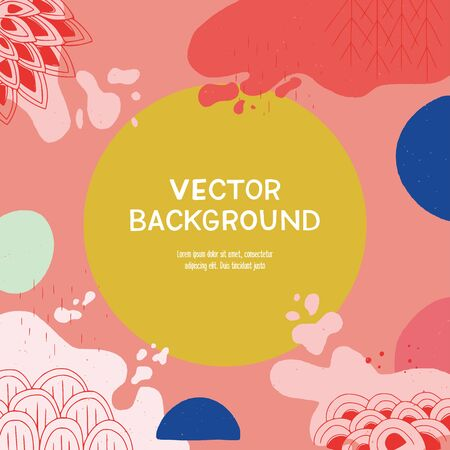 Design background with round mustard element for text and pink fluid shapes with doodles. Creative mockup for web page, presentation, application, online service. Backdrop of flowing paint dabs