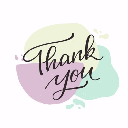 Thank you calligraphy lettering text. Elegant handwritten inscription on pastel coloured abstract banner. Lovely, cute expression of gratefulness for ecard, card, print, site, blog, vlog, newsletter.