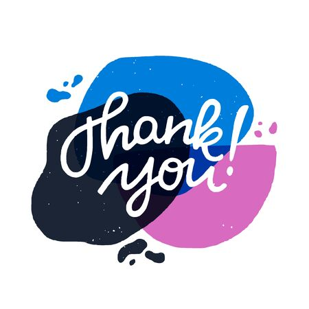 Thank you calligraphy lettering text. Handwritten inscription on trendy liquid blobs abstract banner. Lovely expression of gratefulness for ecard, post, card, print, blog, newsletter, social media. Illusztráció