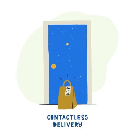 Contactless delivery illustration in flat style. Cartoon house entrance with paper bag at the door. Perfect for online shop, courier company, grocery store for quarantine period. Coronavirus measures Banco de Imagens - 148772259