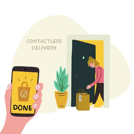 Contactless delivery cartoon illustration. Handdrawn cell in hand with screen text Done and girl at doorway taking her paper bag with order. Shipping option picture during coronavirus. Flat style icon