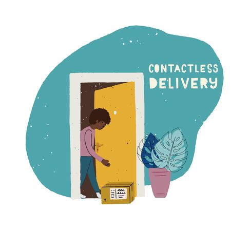 Flat style illustration Contactless delivery. Hand drawn picture with client taking its order box at door. Cartoon person at doorway with shipping package. Quarantine measures for online shop, market