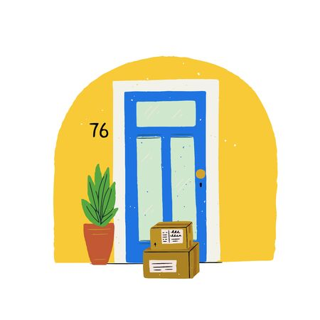 Flat style illustration house entrance with potted plant and two delivery boxes at door. Hand drawn contactless shipping icon for online shop, courier service, web store. Cartoon picture covid measures