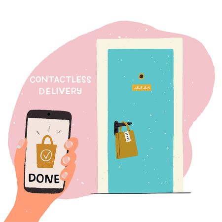 Cartoon house entrance with paper bag on door handle and cell with Done text on screen. Hand drawn illustration of contactless delivery. Flat style image for online shop, courier service, web store Banco de Imagens - 148772303