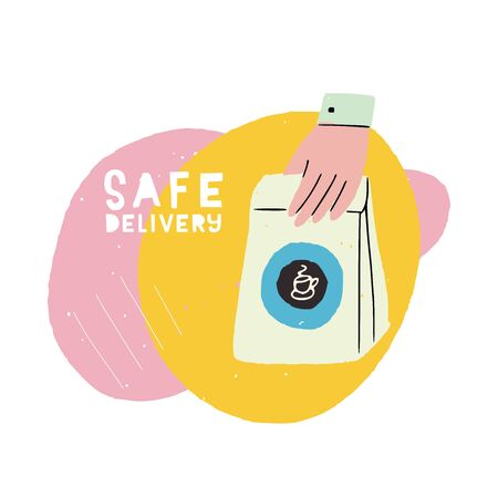 Safe Delivery banner with flat style hand holding paper bag. Cartoon illustration of shipping package with steaming coffee icon. Hand drawn image with trendy round shapes for online store in quarantine Banco de Imagens - 148772541