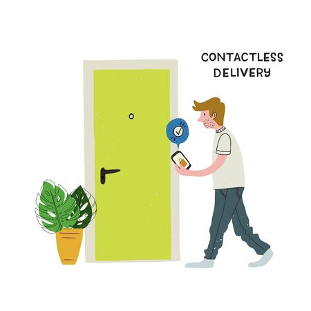 Contactless delivery cartoon illustration. Hand drawn man with Done mark on cell screen moving to doorway. Flat style image of person at home going to take online order next to entrance. Covid measures