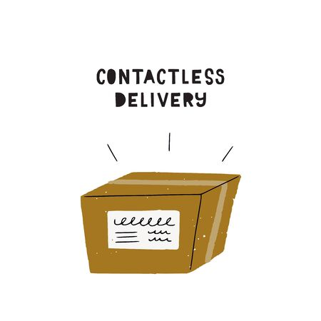 Contactless delivery cartoon illustration. Hand drawn carton box image. Cartoon shipping package with address sticker. Flat style icon for online shop, courier service, web store. COVID-19 measures