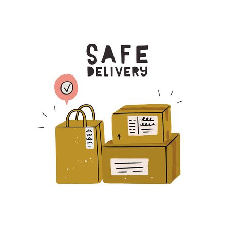 Contactless delivery hand drawn image. Flat style paper bag and two carton boxes with address stickers and tick Done above. Cartoon shipment packages for limited contact with courier. Stay home image