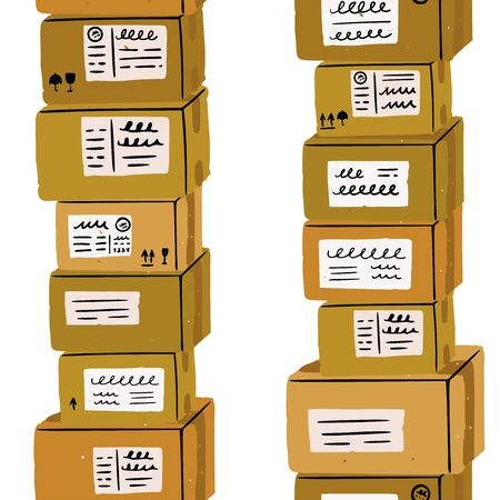 hand drawn carton boxes. Vertical background of flat style shipping package with address stickers. Delivery backdrop with labelling fragile, this side up, keep away from water