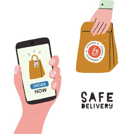 Safe delivery cartoon illustration. Flat style hand with paper bag and other hand with cell screening Order Now and packaging icon. Hand drawn image of ordering and shipping process. For online sales Banco de Imagens - 148772538