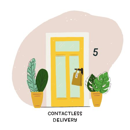Contactless Delivery hand drawn illustration. Cartoon house entrance with potted plants and paper bag on door handle. Flat style image of order shipment for online sale, courier service, web store Ilustração