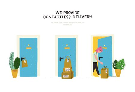 Cute hand drawn illustration with inscription We Provide Contactless Delivery. Cartoon image with three doorways. Paper bag hanging over door handle, pile of carton boxes and a girl taking her order
