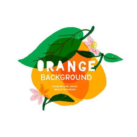 Bright banner with hand drawn orange fruits, leaves, flowers and copy space for title, inscription, slogan. Trendy layout with orange citrus for food blog, healthy nutrition site, diet app, book cover