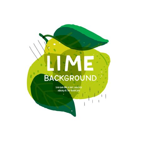 Fresh and juicy background with hand drawn limes, leaves, doodles and copy space for text, motto, title. Citrus banner with flat style fruits for presentation, backdrop, cover, web page. Trendy layout Ilustração