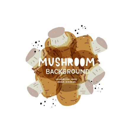 Mushroom background with copy space for text. Yummy banner with cartoon shrooms for recipe book cover, food blog backdrop, diet application, nutrition presentation template. Hand drawn food banner