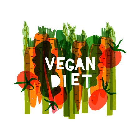 Vegetable banner with flat style carrot, asparagus, tomato, green leaves and copy space for inscription. Layout template for vegan theme presentation, blog, app, brochure, site. Healthy food backdrop Banco de Imagens - 148610328