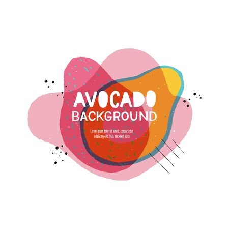 Hand drawn background with avocado shape and copy space for text. Creative banner in vegan style for presentation, layout, title, app, cover, backdrop. Tasty template of rounded fruit shapes in color