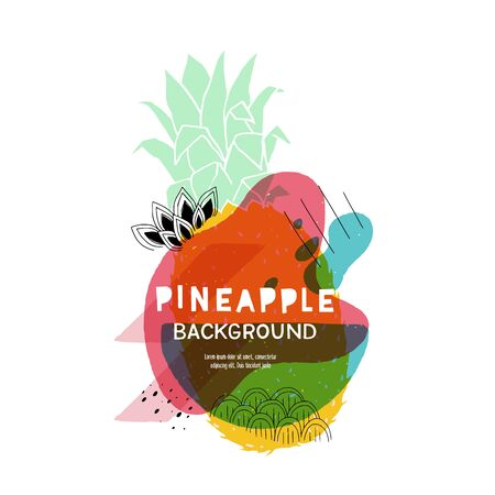 Creative pineapple background with trendy fluid shapes and flat style fruits. Vibrant colorful banner for Brochure, Flyer, Mobile Technology, Application, Online Service, Typographic Emblem