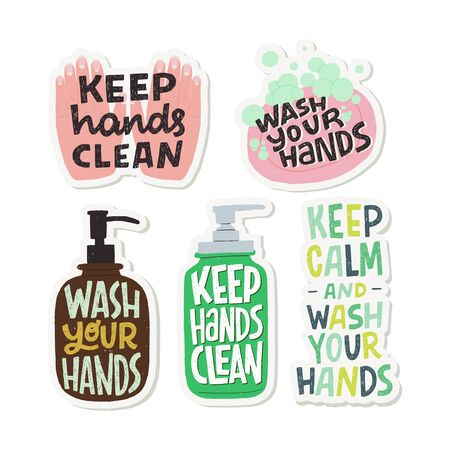 Set of flat style illustrations and inscriptions for prevention of COVID-19. Hygiene promotion stickers. Wash your hands, keep hand clean phrases for social media, blog, poster, card, news. Ilustração