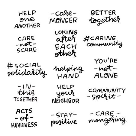 Set of hand lettering messages for stay home campaign. Positive inscriptions for caring community hashtags. Self-isolation, lockdown, shelter in place phrases for social media, stickers, tags, blog