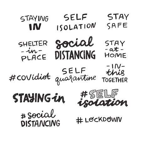 Set of hand lettering messages for stay home campaign. Protect from Coronavirus or Covid-19 epidemic handwritten hashtags. Self-isolation, quarantine phrases for social media, stickers, tags