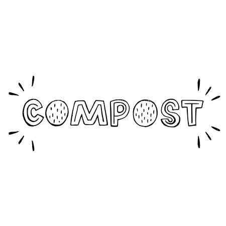 Creative lettering inscription Compost with doodles. Eco friendly word hand drawn with typographic capital letters. Custom font text about composting. Perfect for waste bin and sorting container label