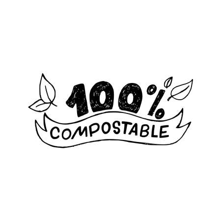 100 % Compostable hand drawn lettering inscription decorated with sketchy leaves. Perfect sign with information for bio, natural and organic products, materials and package. Label for eco shop, store