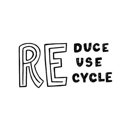 Hand drawn lettering composition with three RE. Typographic zero waste message Reduce Reuse Recycle calling for ecology mindset. Unique font slogan for print, poster, web site, blog, cover, apparel