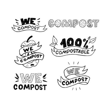 Collection of handdrawn stickers with inscriptions We compost and 100 % compostable. Set of custom lettering phrases with sketchy apple core, ribbons and leaves. For eco shop, poster, banner, sign Ilustração