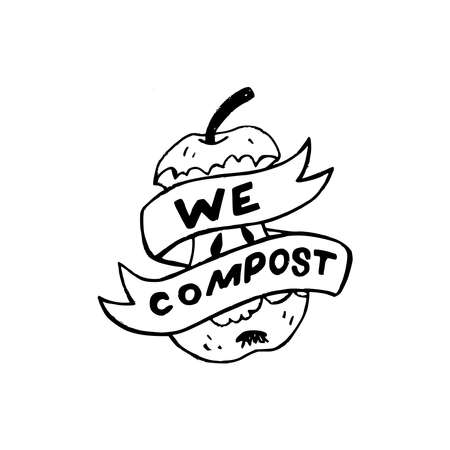 Ribbon with lettering phrase We Compost wrapping up sketchy apple core. Black and white illustration of eco life. Typography hand drawn text calling for organic waste sorting, collection, composting