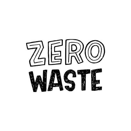 Hand lettering text Zero Waste drawn by custom font with block letters. Decorative typographic message of ecology friendly lifestyle. Concept slogan for natural and nondisposable goods, apparel, items