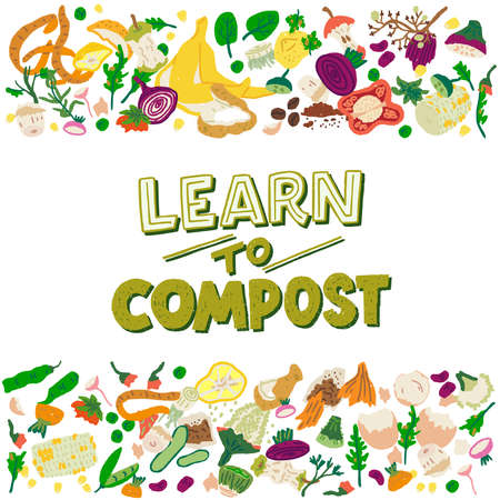 Handdrawn lettering phrase Learn To Compost with multiple vegetable and fruit scrap. Typography slogan to make domestic fertilizer illustrated with organic waste. Green message with flat style peelings