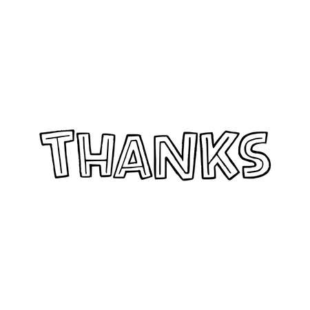 Hand lettering message Thanks drawn by capital letters with decorative elements. Typographic inscription to express spoken or written appreciation for card, ecard, letter, presentation, headline, print