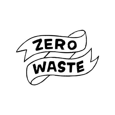 Zero Waste custom font lettering saying on decorative sketchy ribbon. Eco lifestyle concept phrase hand drawn with capital letters. Inscription for returnable and reusable tumbler, container, pack