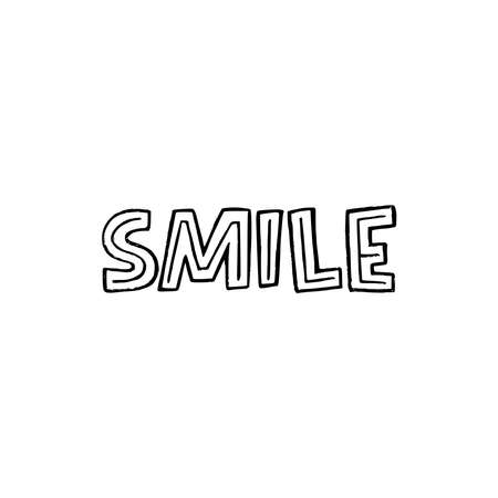 Smile unique font inscription. Typographic word about smiling with decorative strokes. Cute hand drawn lettering message calling for getting good mood. Positive text for print, merch, bag, sign, poster