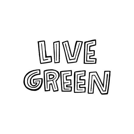 Live Green lettering slogan hand drawn by unique capital letters. Eco friendly message with decorative elements. Typographic phase calling for protect nature with reuse, reduce and recycle lifestyle