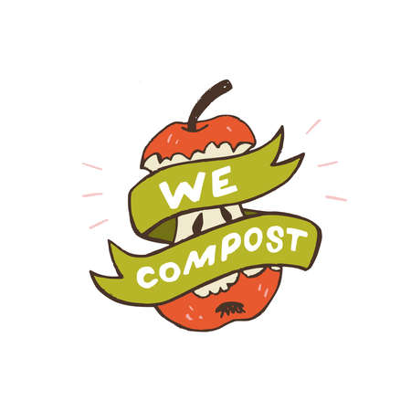 Decorative green ribbon with lettering slogan Learn To Compost wrapping up red apple core. Cartoon style image of zero waste lifestyle. Typographic handdrawn phrase to use organic peeling and scrap