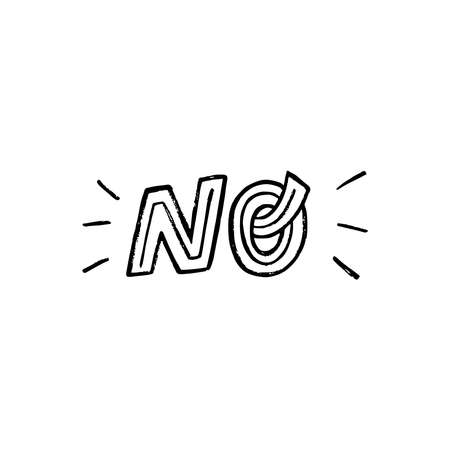 Hand lettering word No by custom font with decorative strokes. Typographic expression for refusal, rejection, failure, negative content. Equivalent for Not in sign, sticker, print. Stop mark message