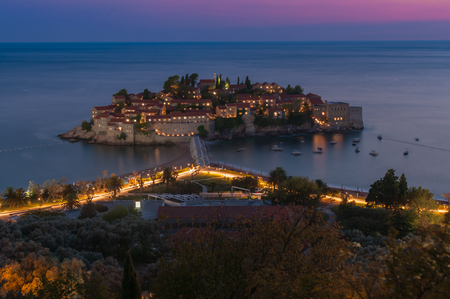 Sveti Stefan Island in the late evening
