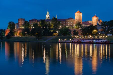wawel: Wawel Royal Castle in Krakow in the late evening