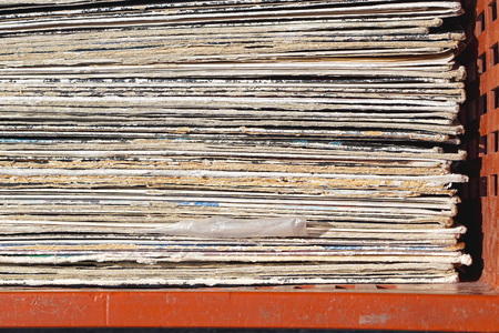 vinyl records: Stacked second hand vinyl records in crate Stock Photo