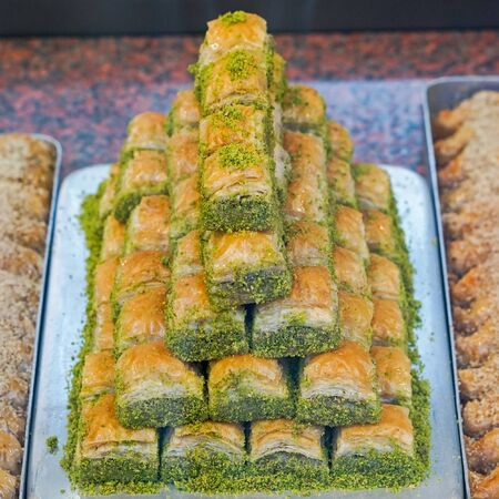 middle east: Baklava with pistachio middle east turkish cuisine