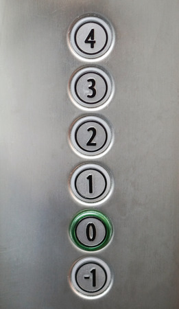 button: Elevator control panel with buttons for floors Stock Photo