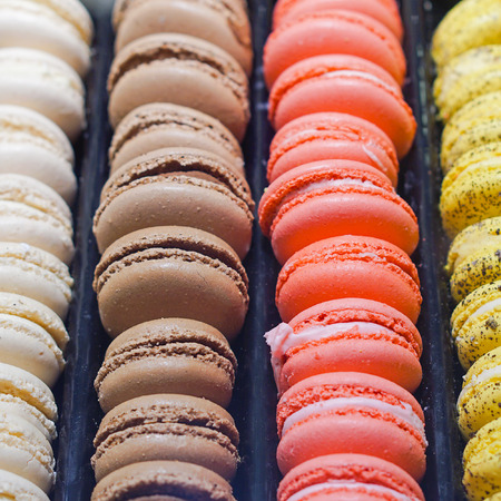 macarons: French macarons colorful cookies in row