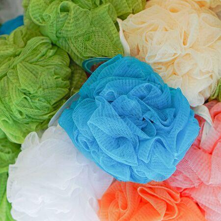 pouf: Mesh pouf bath sponge with exfoliating texture Stock Photo