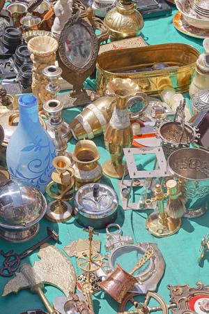 houseware: Various antique objects for sale at flea market