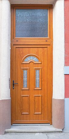 transom: Brown wood door with big transom light window